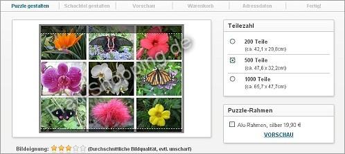 Screenshot vom Erstellen meines Fotopuzzles