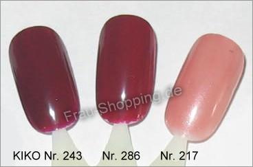 Nagellack Nr. 243, 286 und 217