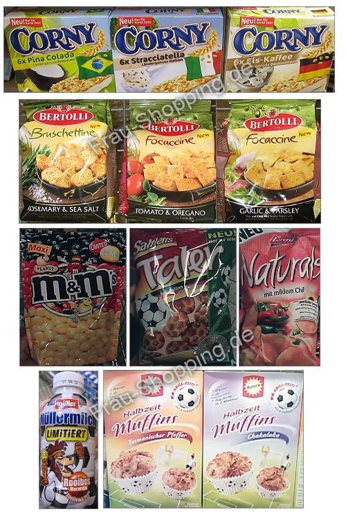 Neu im Supermarkt: Corny WM Riegel, Bertolli, Müllermilch, Aurora Muffins, M&Ms, Salzletts Taler und Naturals Chili Chips