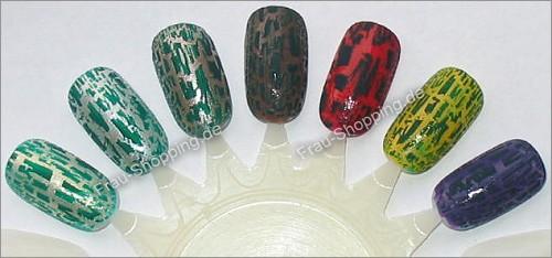 Isadora Graffiti Nails auf verschiedenen farbigen Lacken