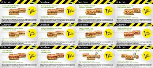 Subway: Neue Gutscheine Oktober/November 2010