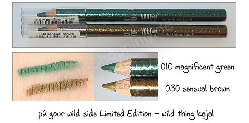 p2 your wild side kajal stifte - magnificent green und sensual brown