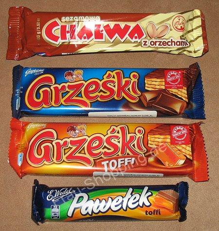 Polnische Süßigkeiten: Chalwa, Grzeski, Pawelek