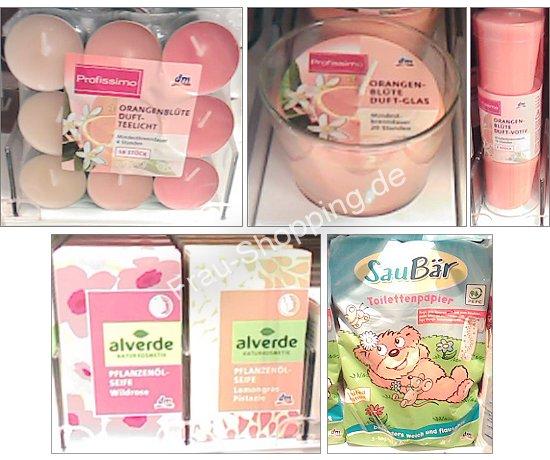 Neu bei dm: Profissimo Duftkerze Orangenblüte, Saubär Toilettenpapier, alverde Seife
