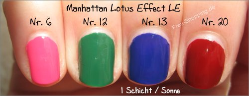 Manhattan Lotus Effect Nagellack LE Swatches - 1 Schicht in der Sonne