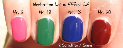 Manhattan Lotus Effect Nagellack LE Swatches - 2 Schichten in der Sonne