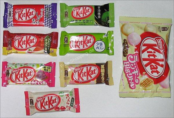 verschiedene KitKat Riegel aus Japan