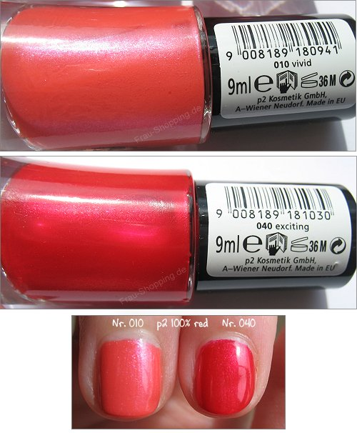 p2 100% red Nagellacke 010 vivid und 040 exciting