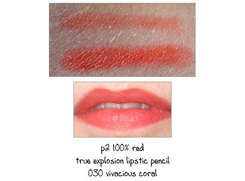 p2 100% red lipstick pencil 030 vivacious coral