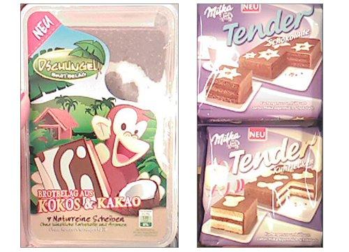 brotbelag aus Kokos und Kakao und Milka Tender Kuchen