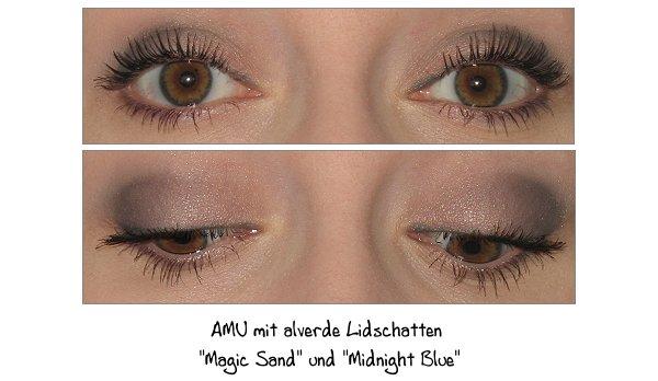 AMU mit alverde Lidschatten Midnight Blue und Magic Sand