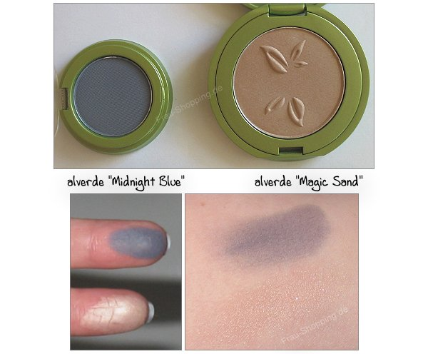 alverde Lidschatten Midnight Blue und Magic Sand Swatch