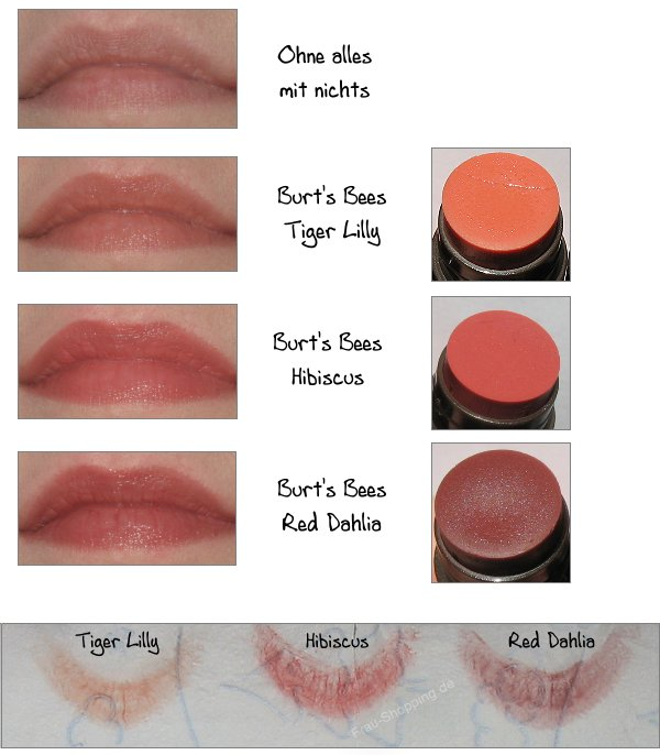 Burt's Bees Tinted Lip Balm - Swatch Tiger Lilly, Hibiscus und Red Dahlia