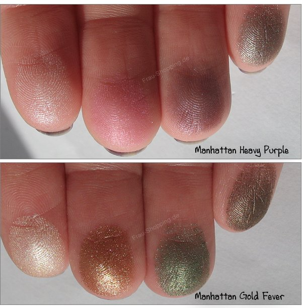 Manhattan Liquid Metals Swatches von Heavy Purple und Gold Fever