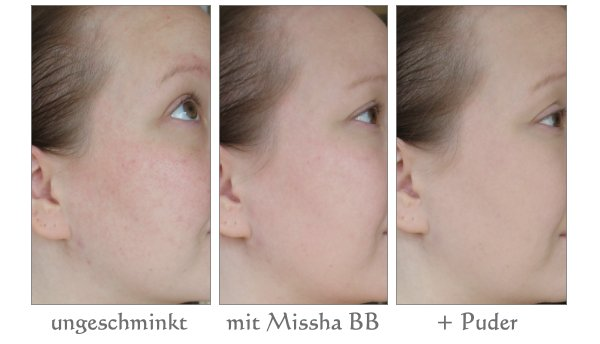 Vorher-Nachher Bilder mit Missha BB Cream