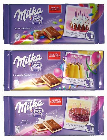 Milka Happy Birthday Tafeln