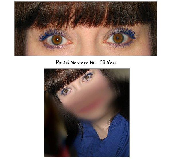 Blaue Pastel Mascara aufgetragen