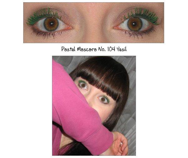 Grüne Pastel Mascara aufgetragen