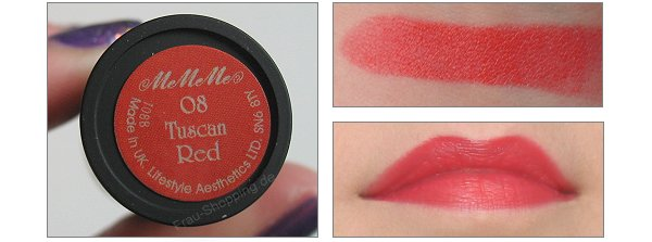 MeMeMe Lippenstift Tuscan Red Swatch