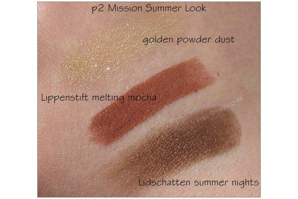 p2 Mission Summer Look Swatches Lippenstift Lidschatten und Powder Dust