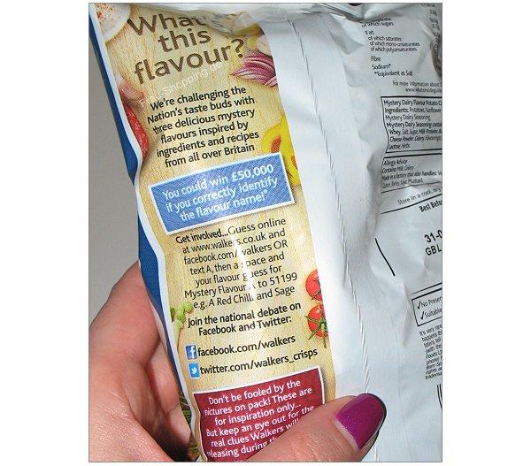 Rückseite der Walkers Mystery Flavour Chips