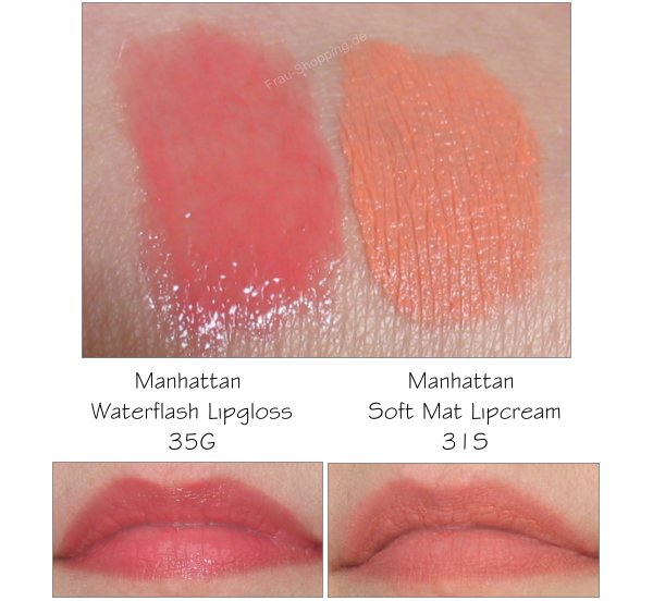 Manhattan - neue Standardsortiment - Waterflash Lipgloss und Mat Lipcream