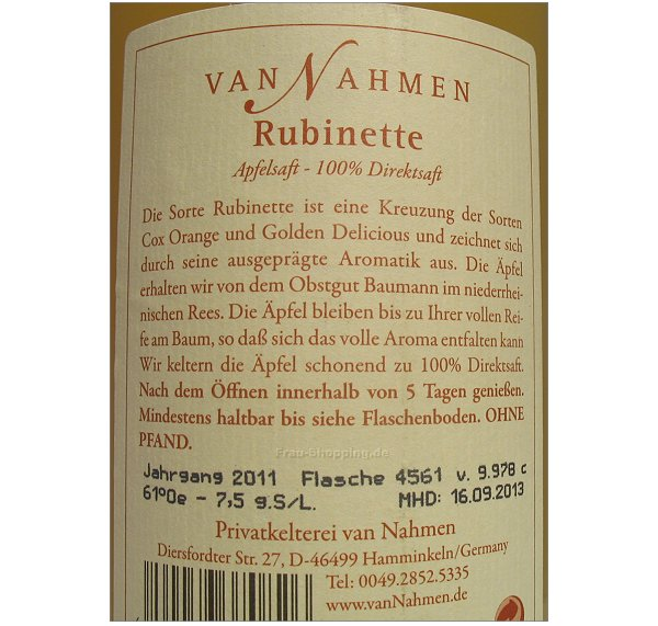 Van Nahmen Apfelsaft Rubinette Etikett