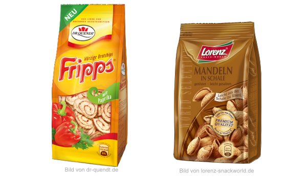 Neu im Supermarkt ab Juli 2012: Dr. Quendt Fripps und Lorenz Mandeln mit Schale