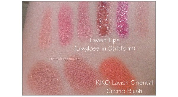 KIKO Lavish Oriental Swatches - Creme Blush und Lavish Lips