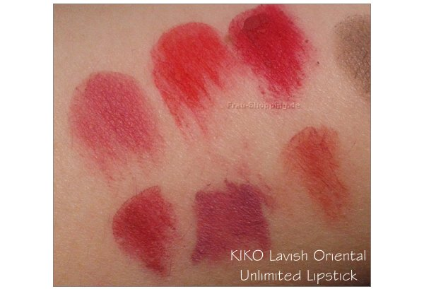 KIKO Lavish Oriental Swatches - Unlimited Lipsticks