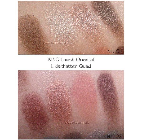 KIKO Lavish Oriental Swatches - Lidschatten Quad 01 und 02