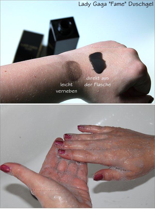 Lady Gaga Fame Duschgel aufgeschäumt auf der Haut