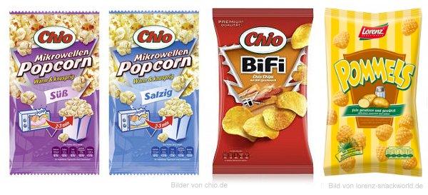 Neu im Supermarkt: Chio Mikrowellen Popcorn Süß und Salzig, Chio Bifi und Lorenz Pommels