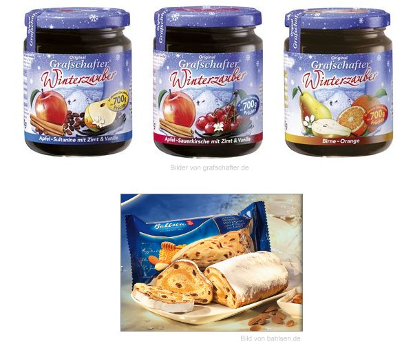 Neu im Supermarkt: Grafschafter Winterzauber, Bahlsen Stollen des Jahres Mandel-Honig