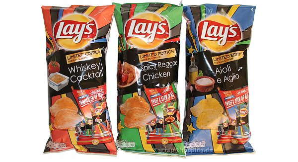 Lays Whiskey Cocktail, Lays Spicy Reggae Chicken und Lays Aioli e Aglio