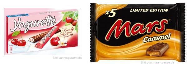 Neu im Supermarkt:: Yogurette Kirsch mit einem Hauch Mandel und Mars Caramel