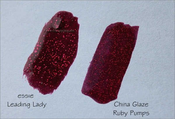 Swatch von essie Leading Lady und China Glaze Ruby Pumps