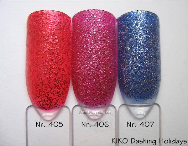 KIKO Glitter Nagellack - Swatch von Nr. 405, 406 und 407