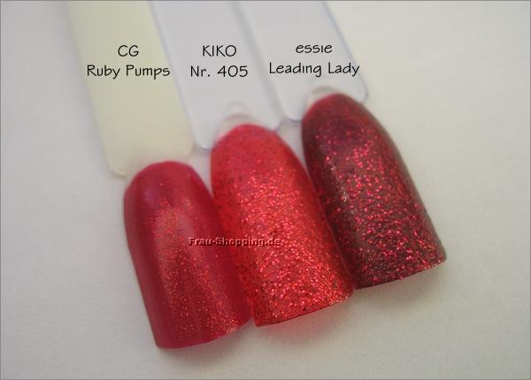 Vergleich KIKO Nr. 405 mit China Glaze Ruby Pumps und Essie Leading Lady