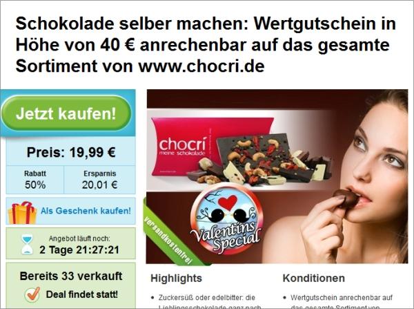 Groupon: 50% Rabatt auf chocri Gutschein