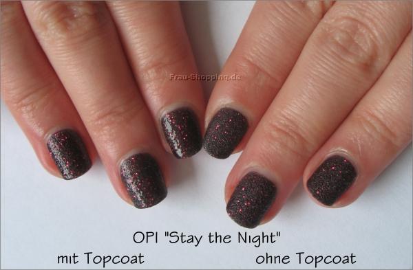 Vergleich OPI Stay the Night mit und ohne Topcoat