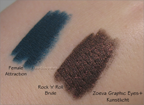 Die neuen Zoeva Graphic Eyes Plus Liner - Swatch im Kunstlicht von Female Attraction und Rock n Roll Bride