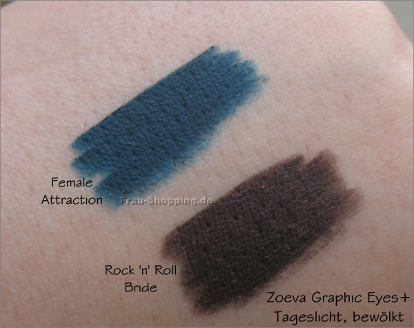 Die neuen Zoeva Graphic Eyes Plus Liner - Swatch von Female Attraction und Rock n Roll Bride