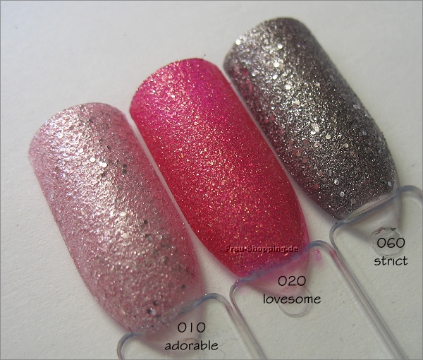 p2 Sand Style Lacke Swatch auf Nail Tips