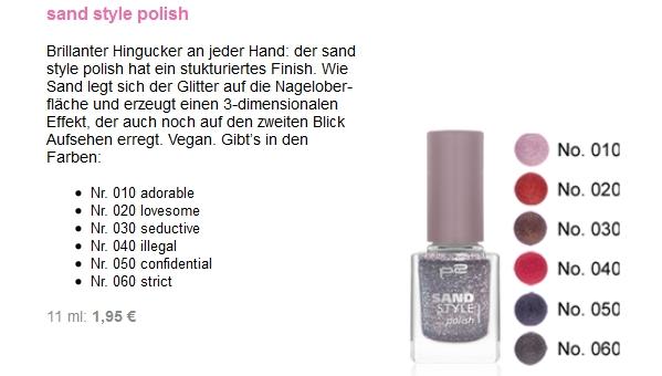 p2 Sand Style Nagellacke in der Newsletter Vorschau