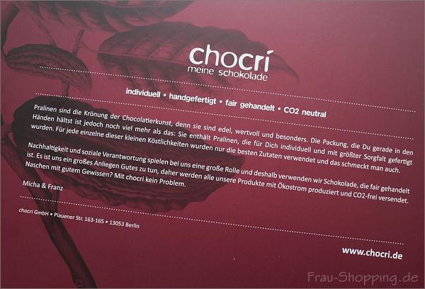 Rückseite der Pralinenpackung von chocri