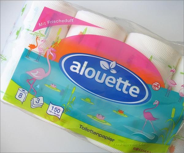 Rossmann alouette Toilettenpapier mit Flamingo-Druck
