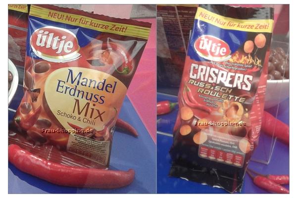 ISM 2013 - ültje Erdnuss Mandel Mix Schoko und Chili, daneben Crispers Russisch Roulette