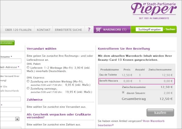 Screenshot von meinem Warenkorb bei Parfümerie Pieper
