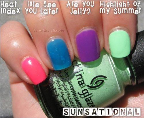 China Glaze Swatch Heat Index, Isle See You Later, Are You Jelly? und Highlight Of My Summer
